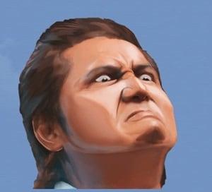 威嚇する力の顔のスタンプ画像。