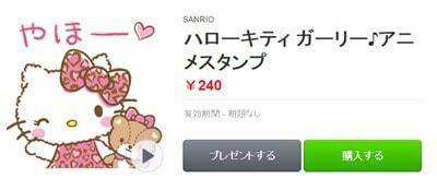 ハローキティガーリー♪アニメスタンプのイメージ画像。